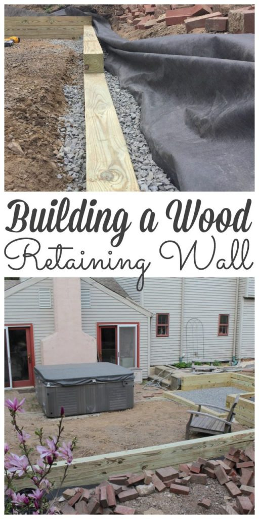 We have been busy building a wood retaining wall to hold back the dirt around our new patio garden.  Sharing all the tips & tricks about how easy it is to how to build a diy wood retaining wall with pictures. #woodretainingwall #howtobuildawoodretainingwall #diy https://lehmanlane.net