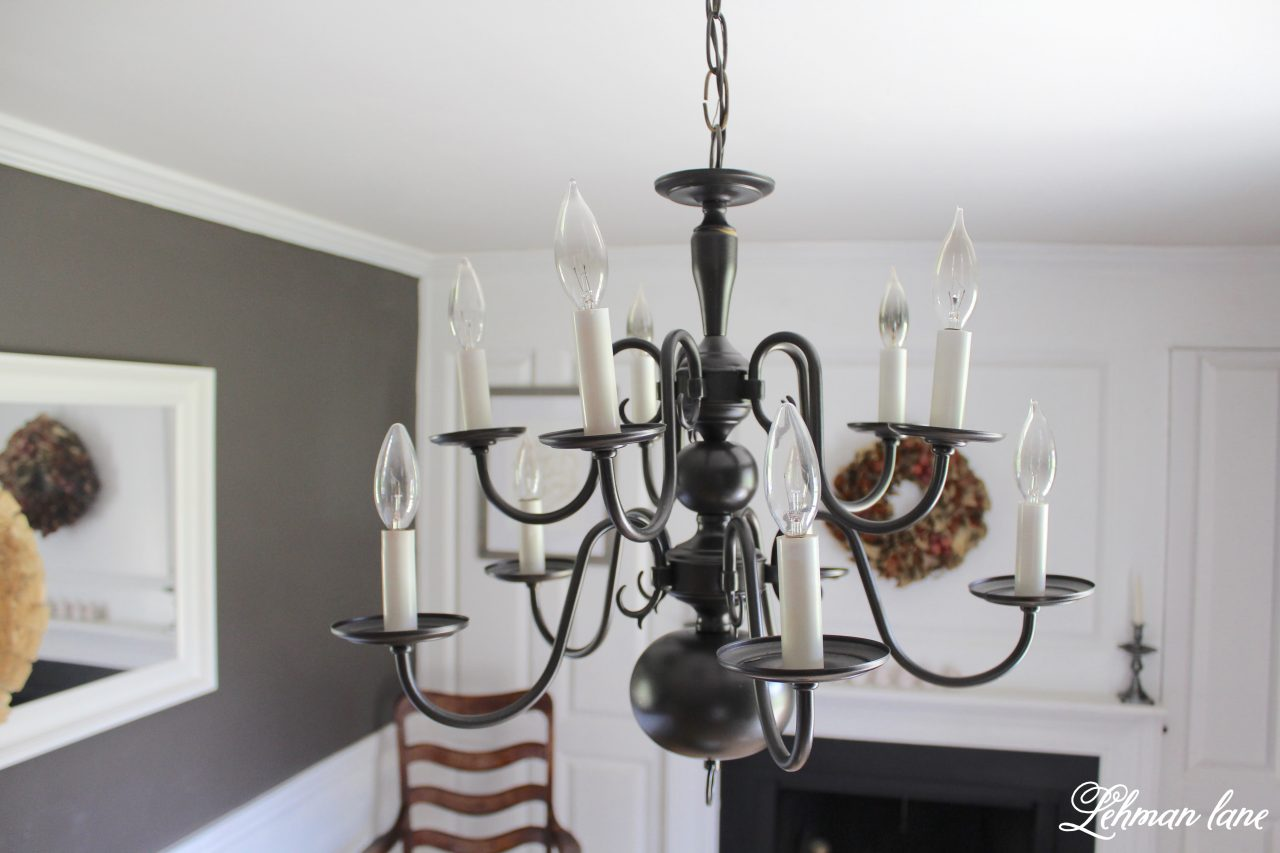 An easy chandelier makeover with spray paint lehman lane arubaitofo Gallery