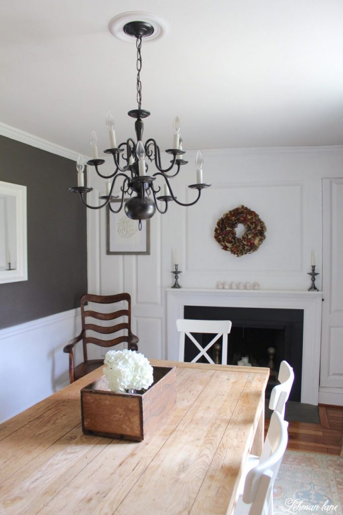 An Easy Chandelier Makeover with Spray paint in our farmhouse dining room http://lehmanlane.net