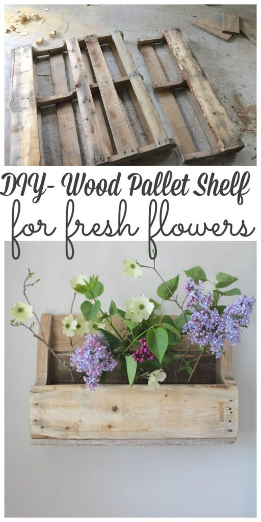 DIY - Wood Pallet Shelf for Flowers - We created a wood pallet shelf to hold fresh flowers! It was a simple project to make and the best part it was completely FREE! Sharing this project with my blogging friends as part of the vase create and share challenge! #createandshare #palletprojects #flowers http://lehmanlane.net
