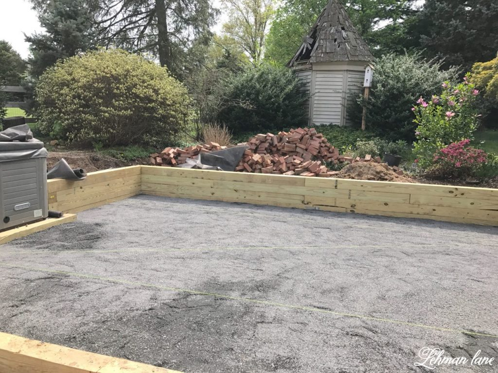 DIY Brick Patio - crushed stone