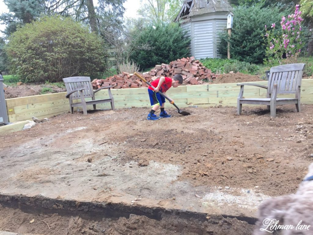 DIY Brick Patio - digging out the dirt