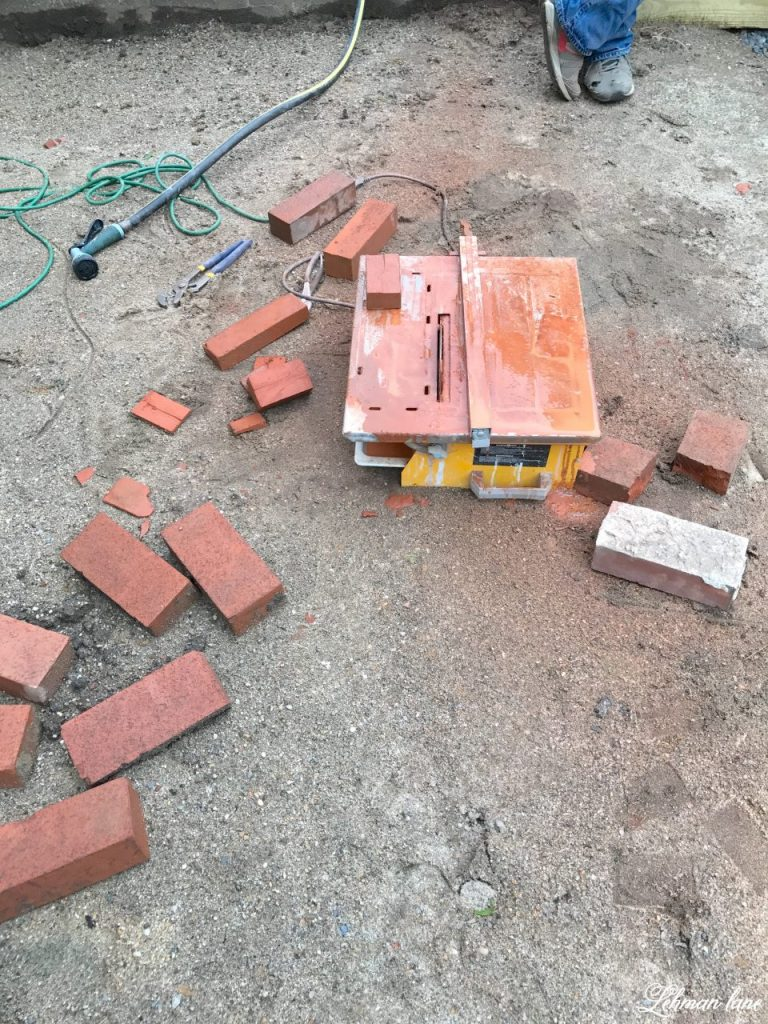 DIY Brick Patio - cutting bricks