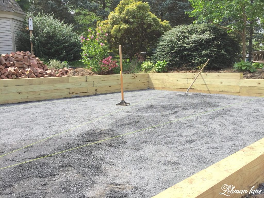 DIY Brick Patio - tamping crushed stone