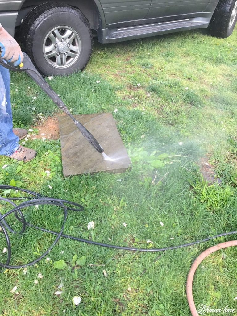 DIY Flagstone Patio / Pennsylvania Bluestone - power washing stone