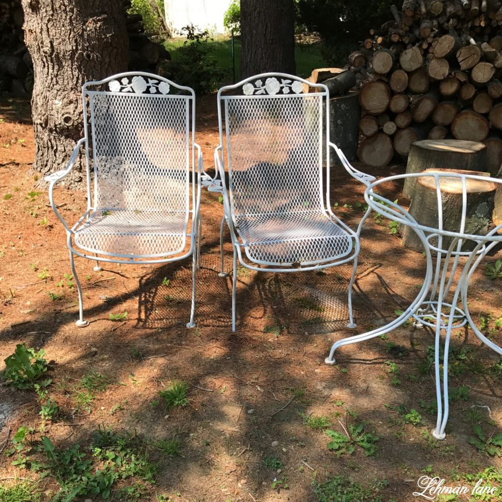 Spray paint patio furniture our vintage wrought iron patio set lehman lane Metal patio furniture vintage
