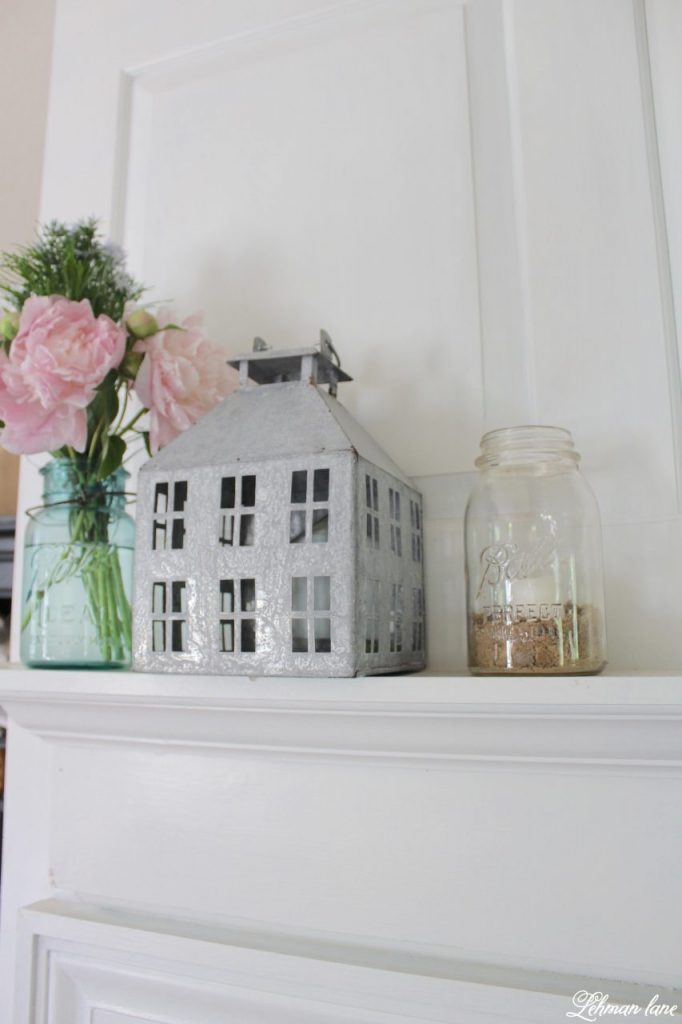 Summer Mantel Decor for our Farmhouse - peonies in vintage ball jar, galvanized house and ball jar with sand and a white candle