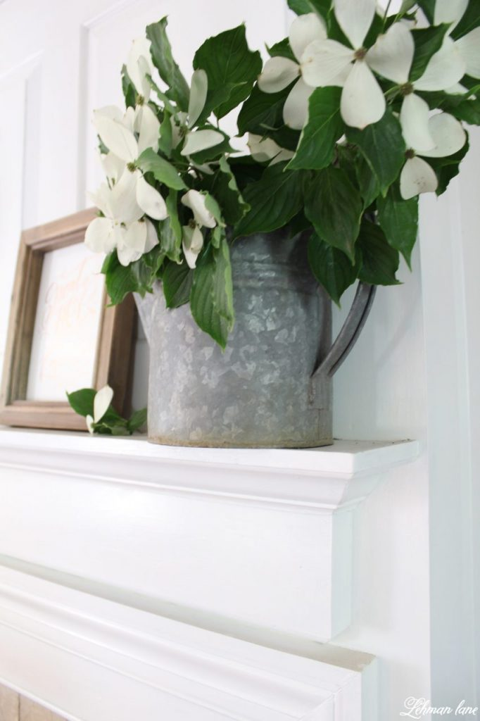 Summer Mantel Decor for our Farmhouse - watering can
