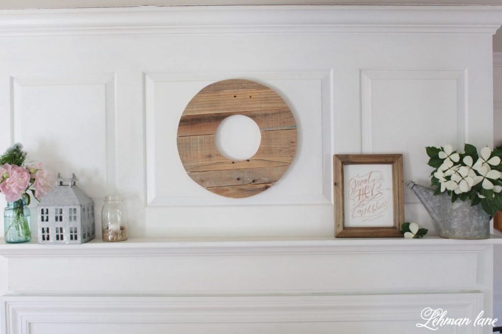 Summer Mantel Decor for our Famhouse - living room mantel