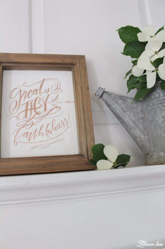 Summer Mantel Decor for our Farmhouse - print and watering can