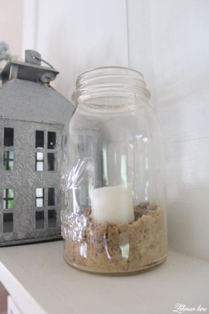 Summer Mantel Decor for our Farmhouse - ball jar candle with sand, galvanized house