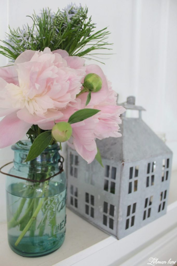 Summer Mantel Decor for our Farmhouse - peonies in ball jar, galvanized house