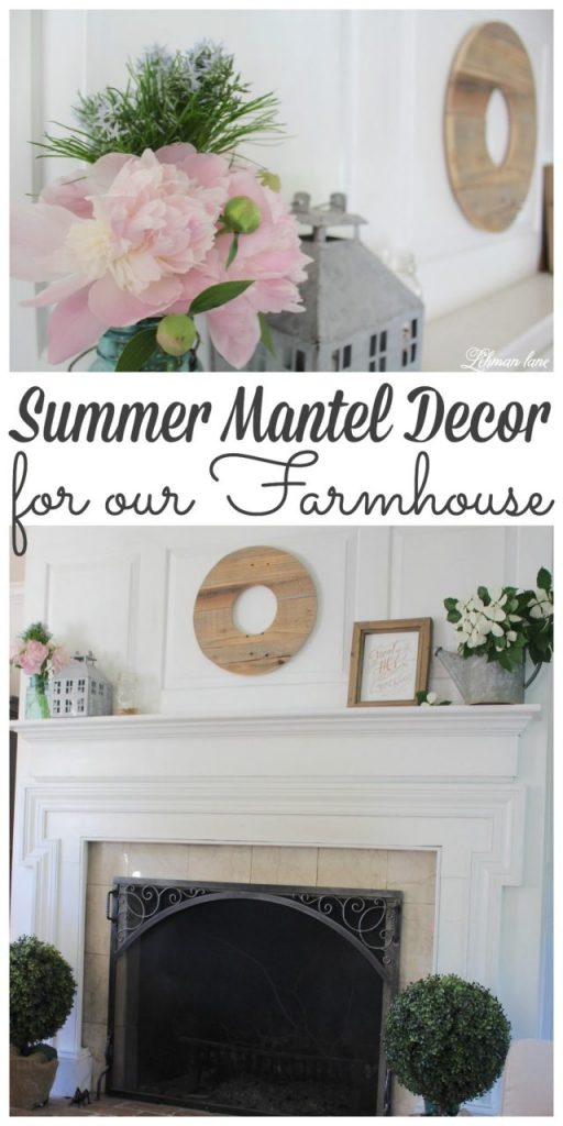 Summer mantel décor at our farmhouse is kept simple.  It's important to me to celebrate the beauty outside our windows as well as celebrate the simplicity that our family strives for year round.  But especially in the summer :).  Stop by to see my Summer Mantel along with 11 more Summer mantels from my blogging friends!  #summer #manteldecor #summermantel #farmhousestyle http://lehmanlane.net