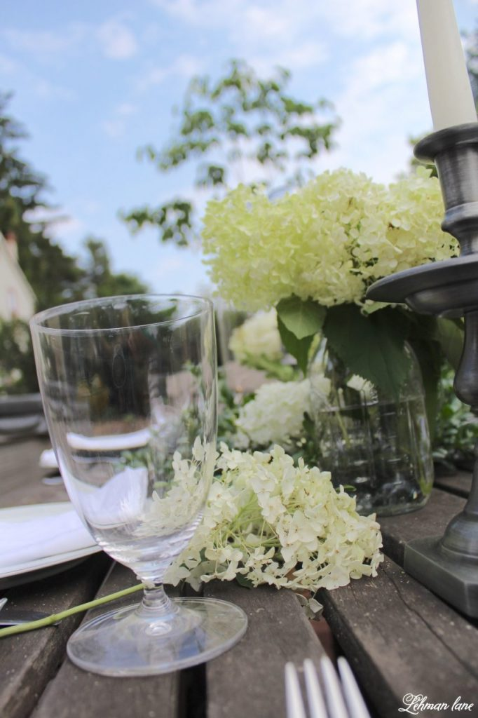 Outdoor Summer Tablescape on our backyard farmhouse patio for a fancy alfresco dinner!