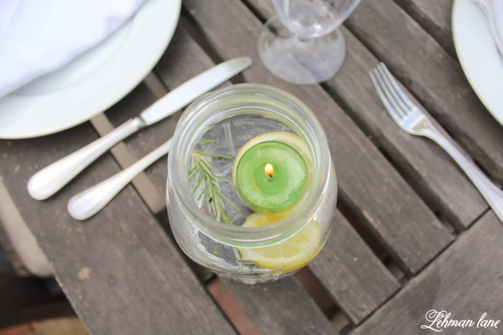 Outdoor Summer Tablescape - ball jar bug repellant luminary