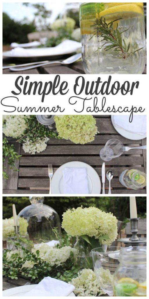 Who says you can't bring your favorite dishes outdoors on a regular Wednesday night? I had a small alfresco dinner party in mind when I set this table. Stop by to see how I set it as well as 7 more summer table ideas from my friends as part of the Back to Basics Decor. #summertablescape http://lehmanlane.net