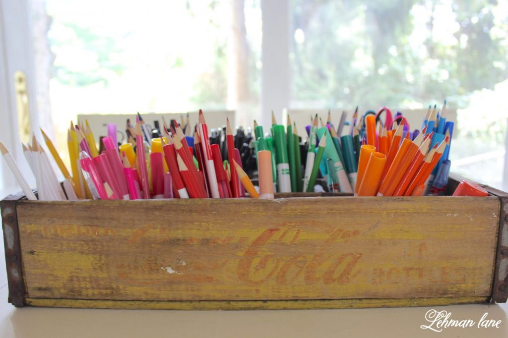 DIY Art Caddy from an Old Beverage Crate - Back to Basics and Back to School - wooden coke crate
