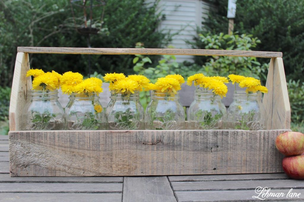 DIY Wooden Tool Box for Fall Decorating made from Pallet Wood - ball jars and yellow mums