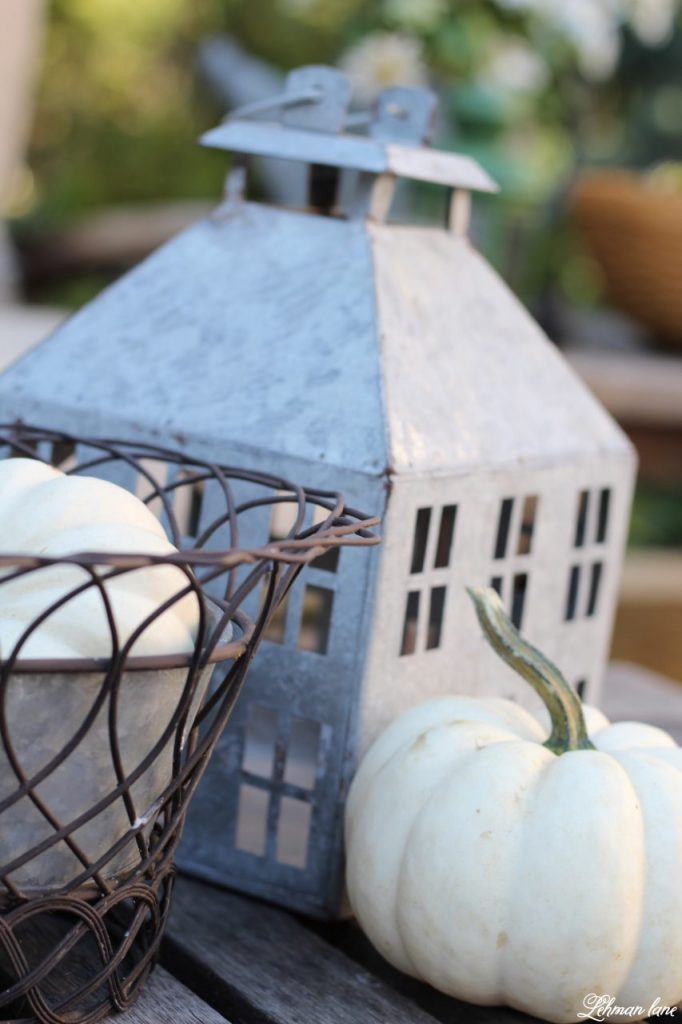 Stop by to see our fall patio and see even more beautiful outdoor spaces from my friends! #fall #falldecor #falloutdoors #fallpatio http://lehmanlane.net - lantern