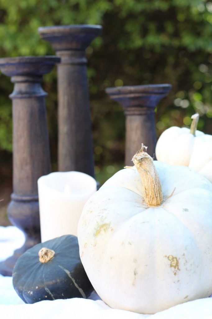 Stop by to see our fall patio and see even more beautiful outdoor spaces from my friends! #fall #falldecor #falloutdoors #fallpatio http://lehmanlane.net - pumpkins and candle sticks