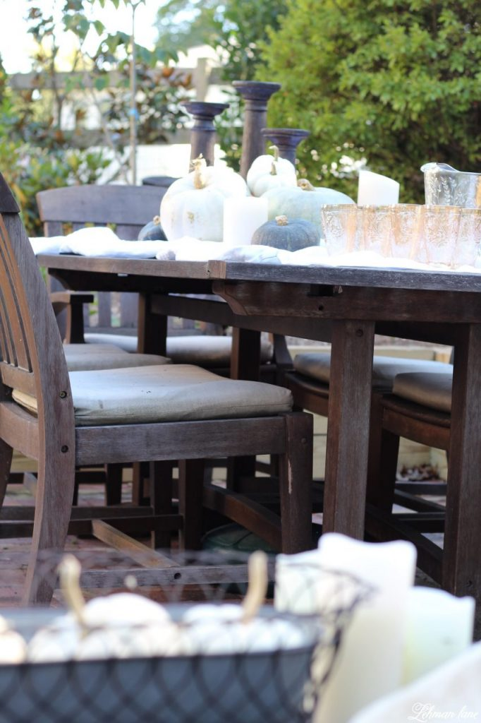 Stop by to see our fall patio and see even more beautiful outdoor spaces from my friends! #fall #falldecor #falloutdoors #fallpatio http://lehmanlane.net - outdoor table with pumpkins