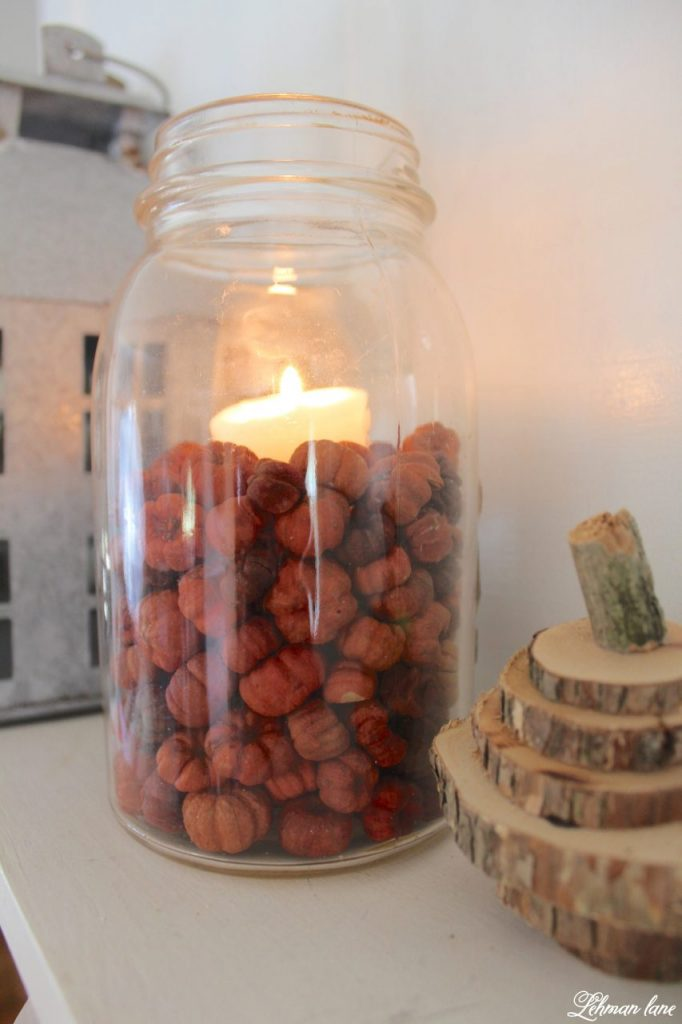 The temperature is dropping, the leaves are turning and it's finally starting to feel like fall at our farmhouse.  Every year I try and change up my fall décor so it looks new and fresh. mason jar with mini pumpkins http://lehmanlane.net - ball jar with mini pumpkins