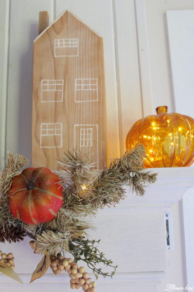 Splendor of Autumn Home Tour with Balsam Hill - Autumn Abundance garland, cedar post house, fall pumpkin candle holder