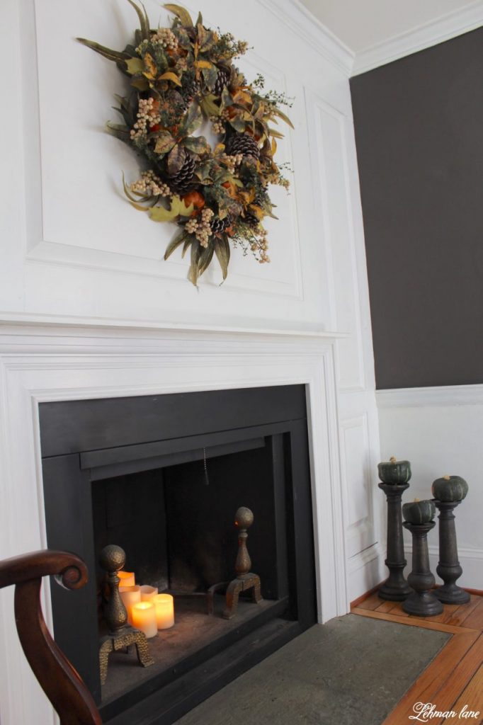 Splendor of autumn home tour with balsam hill - autumn abundance wreath and faux bois candle holder with green pumpkins