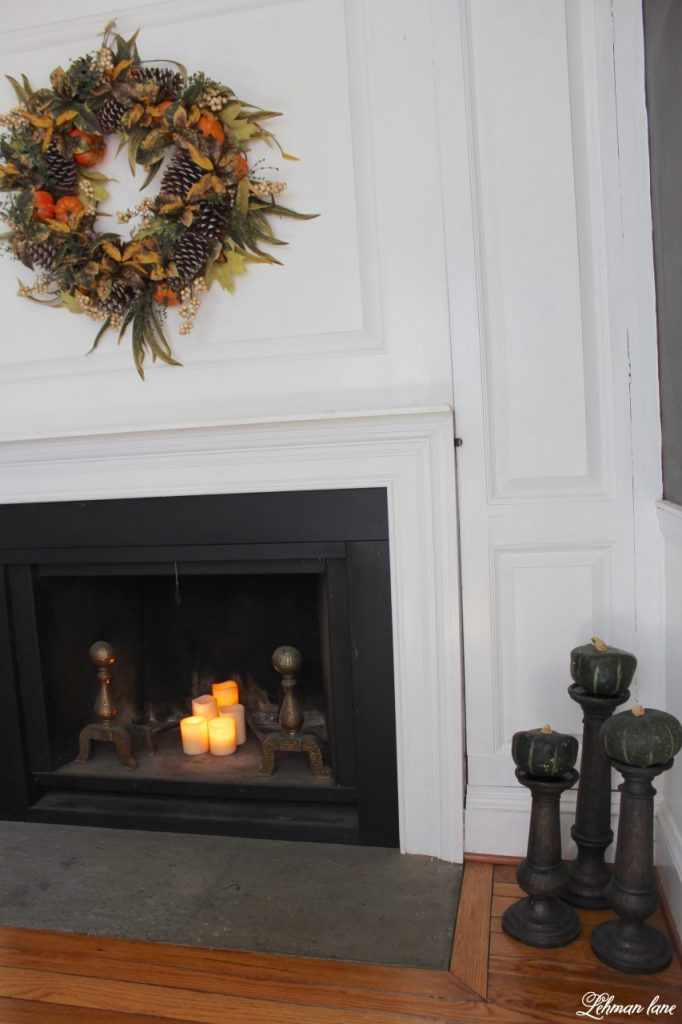 Splendor of Autumn Home Tour with Balsam Hill - autumn abundance wreath and faux bois candle holder, dining room fireplace