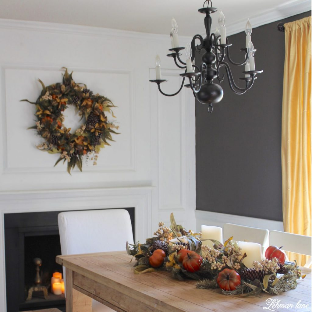 Splendor of Autumn Home Tour with Balsam Hill - dining room autumn abundance wreath and garland