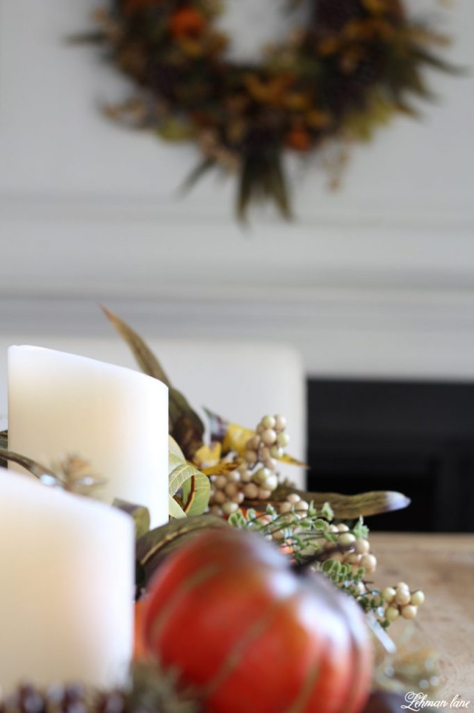Splendor of Autumn Home Tour with Balsam Hill - autumn abundance garland and LED candles