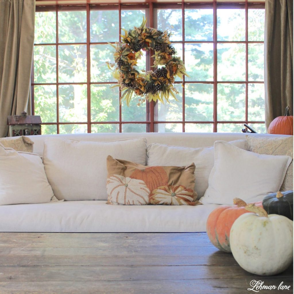 Splendor of Autumn Home Tour with Balsam Hill - family room sofa