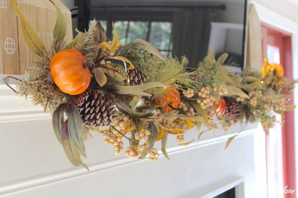 Splendor of Autumn Home Tour with Balsam Hill - autumn abundance garland under tv