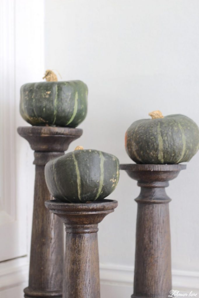 Splendor of Autumn Home Tour with Balsam Hill - faux bois walnut candle holder with green pumpkins