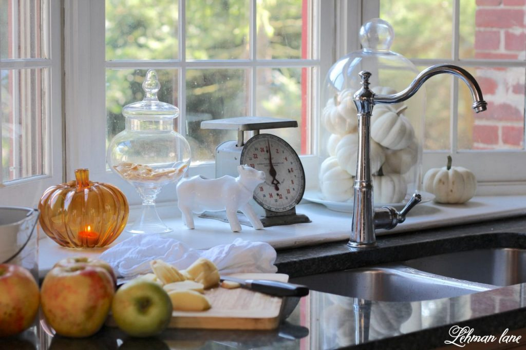 Splendor of Autumn Home Tour with Balsam Hill - farmhouse kitchenpumpkin candle holder