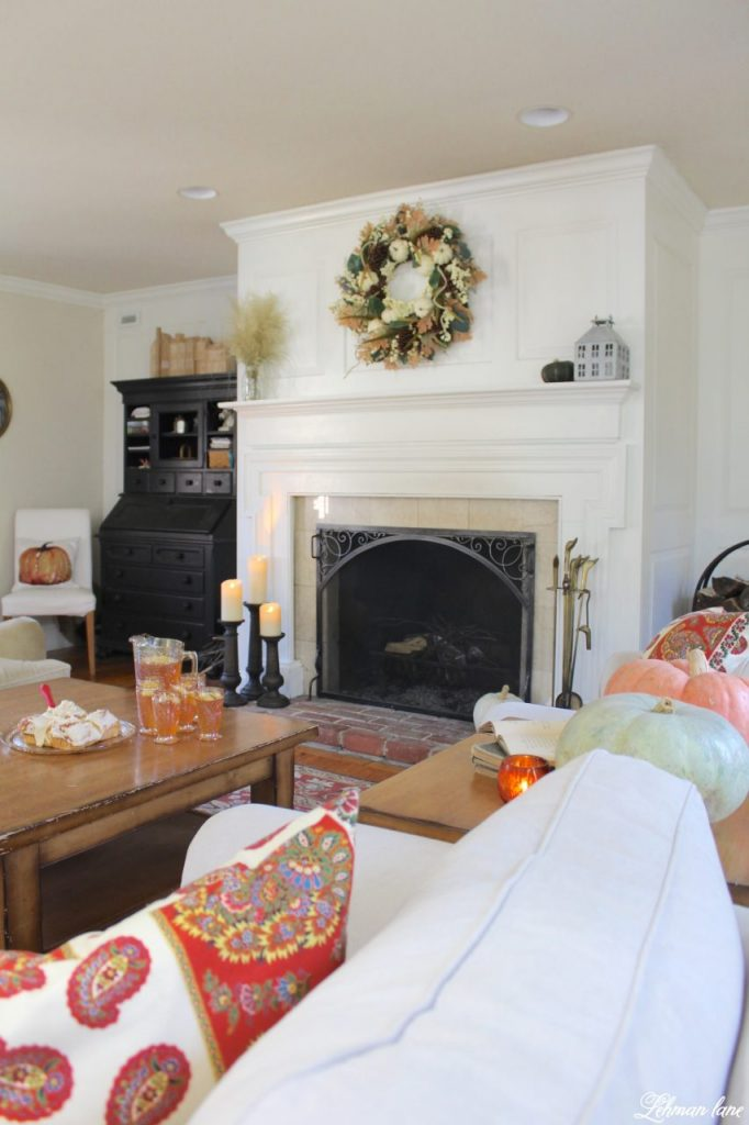 Splendor of Autumn Home Tour with Balsam Hill - living room fireplace