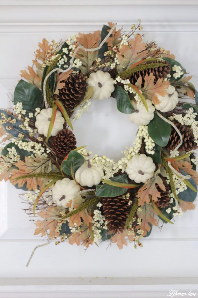 Splendor of Autumn Home Tour with Balsam Hill - heirloom pumpkin andmagnolia wreath