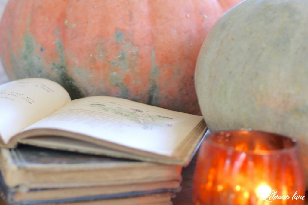 Splendor of Autumn Home tour with Balsam Hill - pumpkins, books, candle
