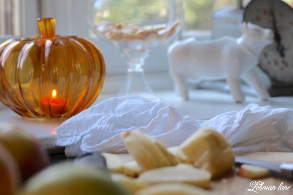 Splendor of Autumn Home Tour with Balsam Hill - farmhouse kitchen sink, pumpkin candle holder
