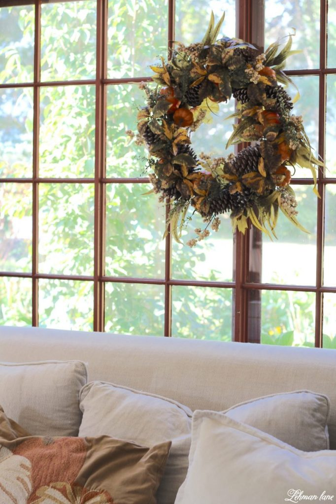 Splendor of Autumn Home Tour with Balsam Hill - family room window with autumn abundance wreath