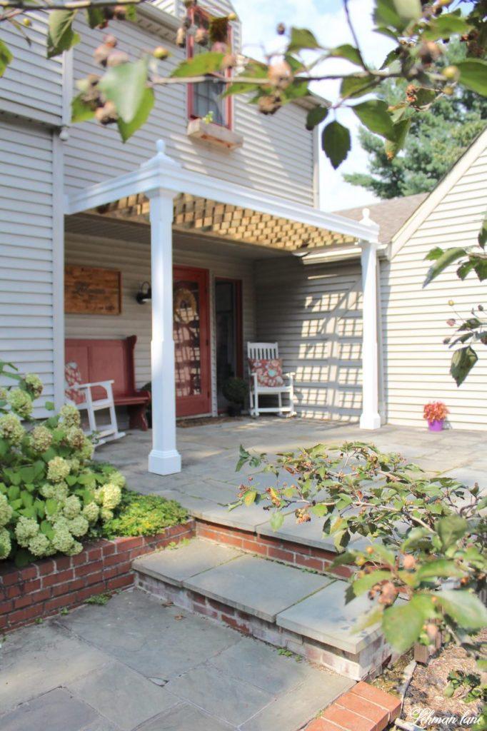Diy White Front Porch Pergola Add Curb Appeal To Our Farmhouse On A Budget Lehman Lane