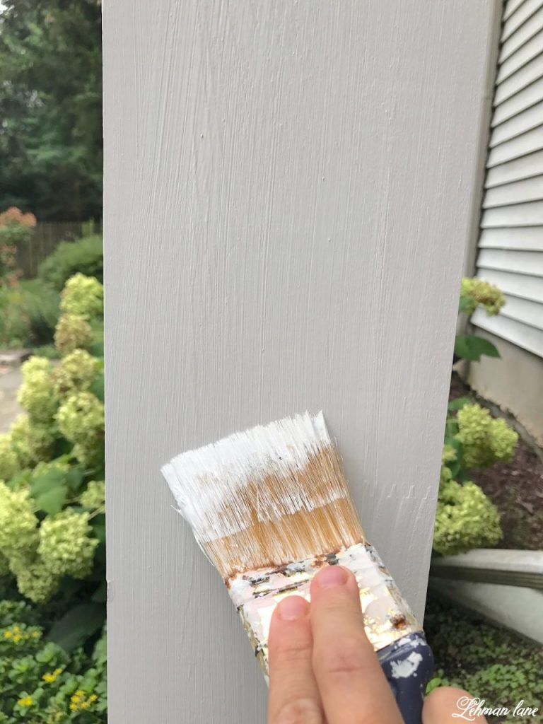 front porch pergola for our farmhouse - painting posts