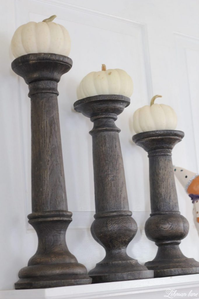 Halloween Mantel - faux bois candle holders with white pumpkins