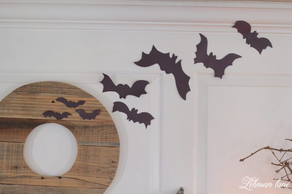 Halloween Mantel - pallet wreath, paper bats