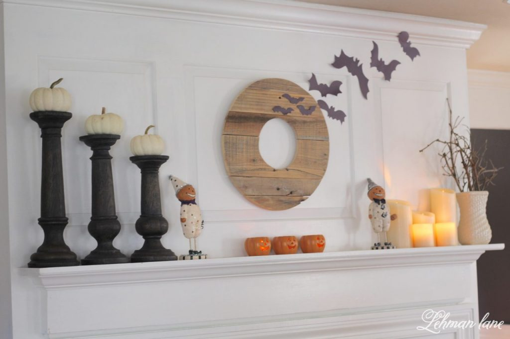 Halloween Mantel - pallet wreath, paper bats, pumpkins, candles