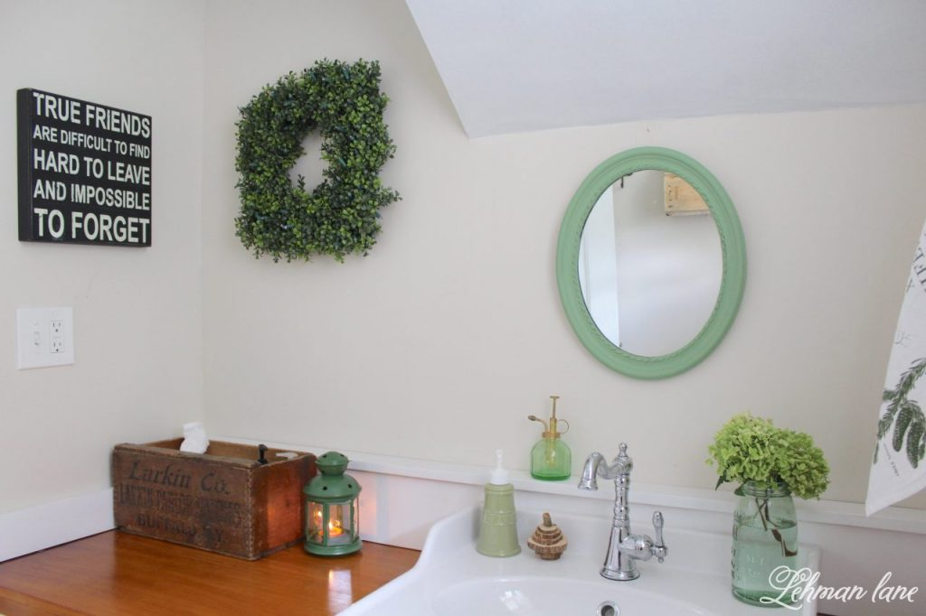 Powder Room Refresh - with pops of green - vintage box, Balsam hill boxwood wreath