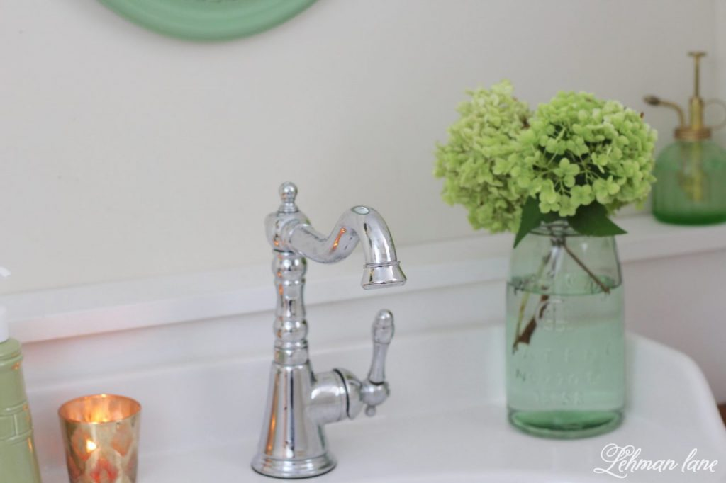 Powder Room Refresh - with pops of green