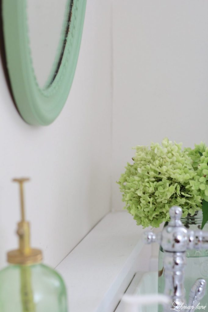 Powder Room Refresh - with pops of green - mirror