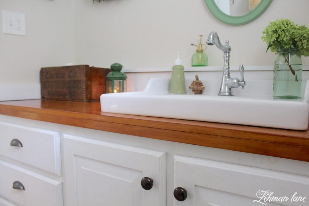 Powder Room Refresh - with pops of green - wooden countertops