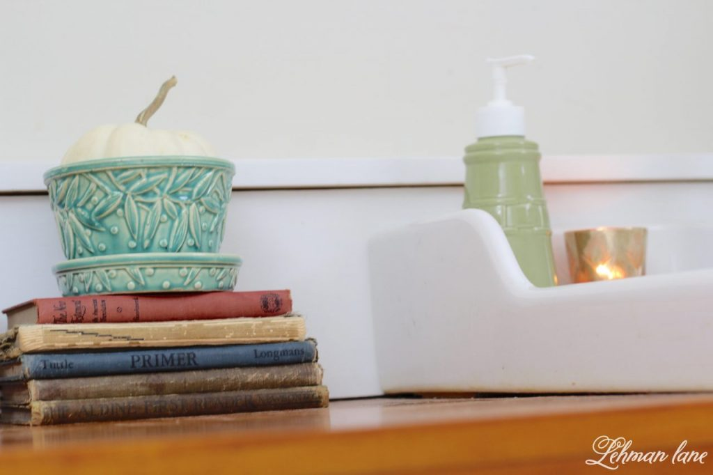 Powder Room Refresh - with pops of green - vintage books